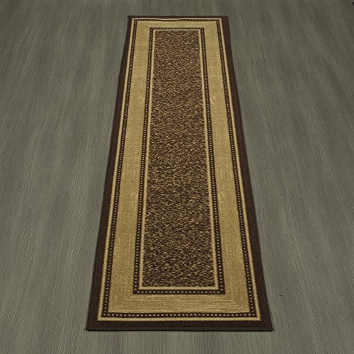Ottomanson Ottohome Collection Contemporary Bordered Design Modern Hallway Runner Rug, 2'7