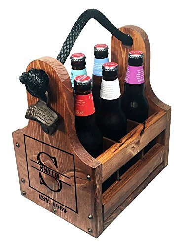Magnetic Enamel (Personalized Wood Beer Caddy with Bottle Opener and Magnetic Bottle Cap Catcher. Handmade Rustic Wooden Six Pack Tote/Carrier - Boxed Split Monogram with Est. Date)