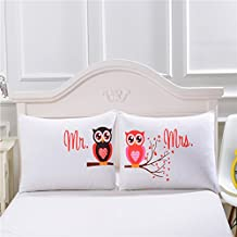 Sleepwish Mr and Mrs Owls Romantic Pillowcases 2PCS Luxury Soft His and Hers Pillowcase For Couples Cute Wedding Valentine Day Gift (20 x 30inch)