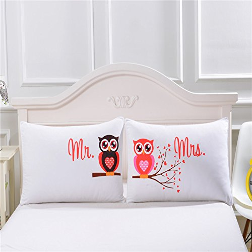 Sleepwish Mr And Mrs Owls Romantic Pillowcases 2Pcs Luxury Soft His And Hers Pillowcase For Couples Cute Wedding Valentine Day Gift  20 X 36Inch