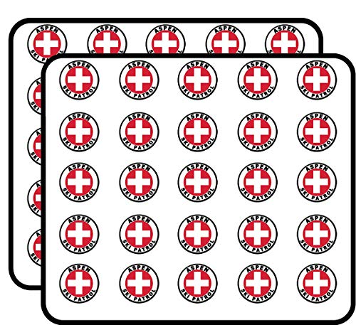 Round Aspen SKI Patrol (Colorado co Snow) Sticker for Scrapbooking, Calendars, Arts, Kids DIY Crafts, Album, Bullet Journals ()
