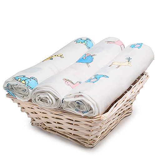 Extra Soft Muslin Swaddle Blankets 3-Pack, 100% Organic Cotton Muslin Fabric - Versatile Receiving Blankets for Babies 47 X 47 inch 12 Animals, Discrete Breastfeeding Cover, EBook Included by Palada