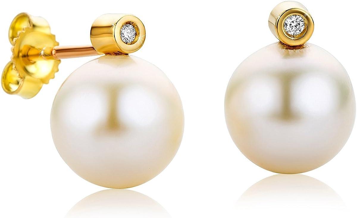 Orovi pendientes de mujer presión Perlas blancas de aguadulce 0.02 Quilates diamantes en oro amarillo 18 kilates ley 750