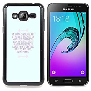 /Skull Market/ - Inspirational Motivational Message Blue For Samsung Galaxy J3 - Mano cubierta de la caja pintada de encargo de lujo -