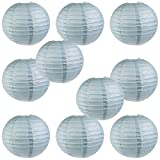 WYZworks Round Paper Lanterns 10 Pack (Slate Blue, 16'') - with 8'', 10'', 12'', 14'', 16'' option