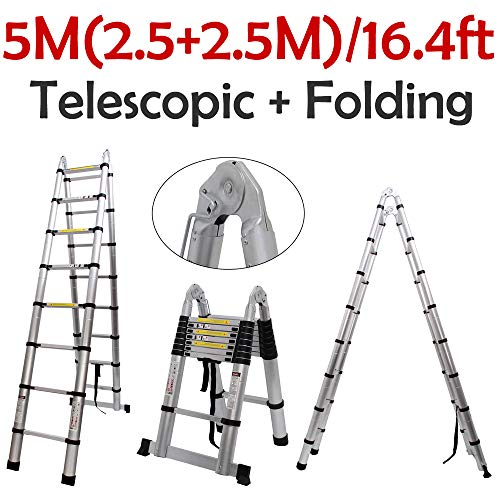 Hediy Aluminium Telescopic Extension Folding Ladder Multi-Purpose for Home Outdoor Working 5M/16.4FT (Foldable A-Shape 2.5+2.5M), 330 lb Load