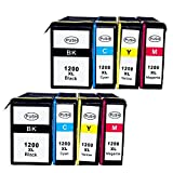 Ouguan Ink® Compatible Ink Cartridge Replacement for Canon PGI-1200XL Use with Canon Maxify MB2020 MB2050 MB2320 MB2350 Inkjet Printers 8PK(2BK+2C+2M+2Y)