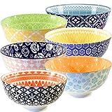 Annovero Cereal Bowls, Large Porcelain Soup, Rice, or Pasta Bowls, Microwave & Dishwasher Safe, Set of 6 Colorful Designs