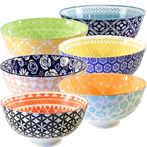 - Annovero Cereal Bowls, Large Porcelain Soup, Rice, or Pasta Bowls, Microwave & Dishwasher Safe, Set of 6 Colorful Designs