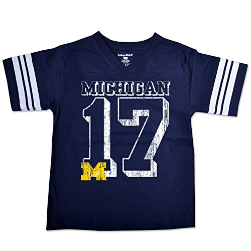 - College Kids NCAA Michigan Wolverines Youth Football Tee, Size 7/X-Small, Navy