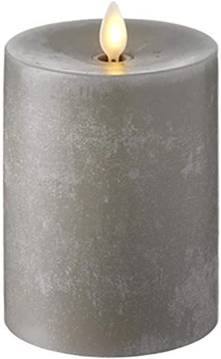RAZ IMPORTS INC Push Flame Flameless Battery Operated LED Pillar Candle Grey 3.5 x 5 for Home D cor, Holiday and Gift
