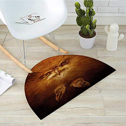 Animal Half Round Door mats Hawk Eagle Bird Face and Claws with Feathers Wings in Fire Like Background Art Print Bathroom Mat H 27.5