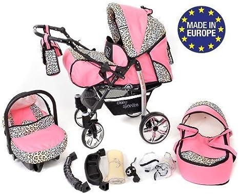 Si/ège Auto Syst/ème 3en1 Accessoires/ Syst/ème 3en1, rose et L/éopard Poussette Sportive X2 Landau pour b/éb/é