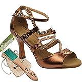 Bundle - 5 items: Very Fine Women's Ballroom Salsa Tango Dance Shoe Sera7017 Brush Pouch Sachet Bag, Copper 8.5 M US Heel 3 Inch