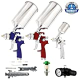spray gun for paint - TCP Global Brand HVLP Spray Gun Set - 3 Sprayguns with Cups, Air Regulator & Maintenance Kit for all Auto Paint, Primer, Topcoat & Touch-Up, One Year Warranty
