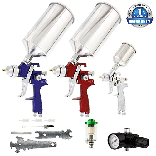 TCP Global Complete Professional 9 Piece HVLP Spray Gun Set with 2 Full Size Spray Guns, 1 Detail Spray Gun, Inline Filter & Air (Packing Fluid Needle)