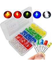 500 Pcs 5 Millimeter LED Light Emitting Diode Assortment Kit,Low Voltage Diffused Diode for DIY PCB Circuit,Red,Yellow,Green,Blue and White LED Indicator Lights