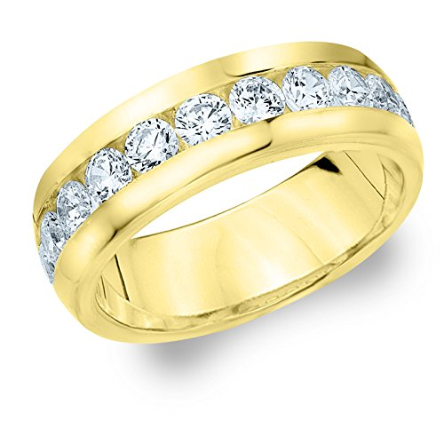 18K Yellow Gold Diamond Men's Channel Set Ring (2.0 cttw, F-G Color, VVS1-VVS2 Clarity) Size 7 by Eternity Wedding Bands LLC