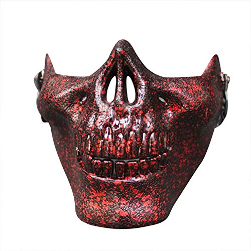 RoseSummer Halloween Skull Mask Half Face Cosplay Costume Supplies(camouflage red)