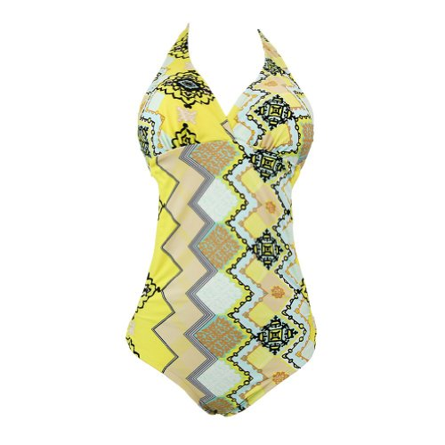 Marina West Women's Curved Waist Halter Monokini Swimsuit Swimsuit Size - Large,Color - Pucci Yellow