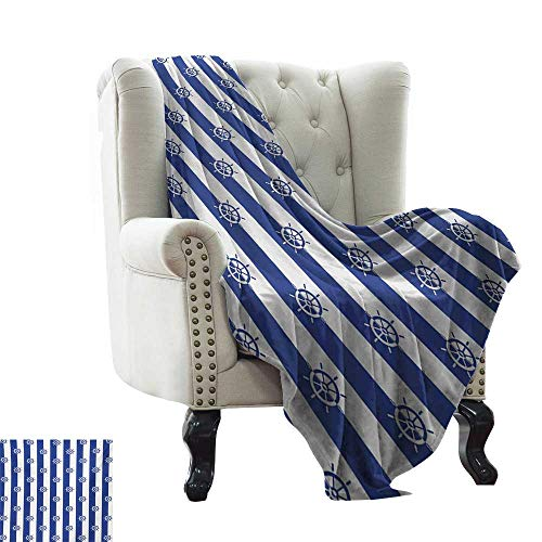 LsWOW Knit Blanket Ships Wheel,Sailor Stripes Breton with Silhouettes of Ships Wheels Classic Artwork,Royal Blue White Weighted for Adults Kids, Better Deeper Sleep 70