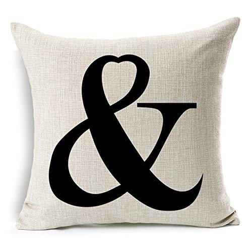 All Smiles Letter Symbol Printed Love Throw Pillow Cover Cushion Cover,18x18 ()