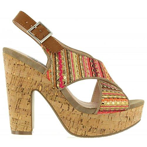63591 Textil Refresh pour Sandales Taupe Femme FxFCAwZ