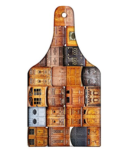 Lunarable Rustic Cutting Board, Doors from Valencia Spain Daylight Mediterranean Residence Entering Old City, Decorative Tempered Glass Cutting and Serving Board, Wine Bottle Shape, Brown Multicolor by Lunarable