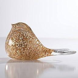 Torre & Tagus 902296A Glitter Glass Bird Paperweight Decor, Clear