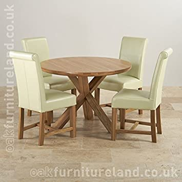 Charmant Solid Oak Round Dining Table With Crossed Legs + 4 Braced Cream Leather  Chairs