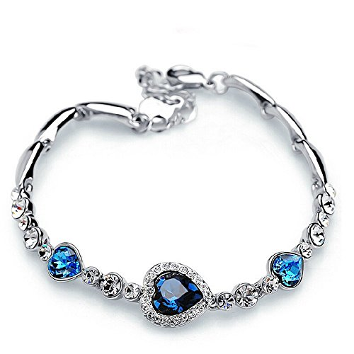 The Starry Night Heart of Ocean Diamond Accented Romantic Silver Link Bracelet (Lobster Clasp,18k,blue)