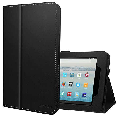 Ztotop Folio Case for All-New Fire HD 10 Tablet (2017 Release, 7th Generation) - Smart Leather Cover Slim Folding Stand Case with Auto Wake/Sleep for Fire HD 10.1 Inch Tablet.Black