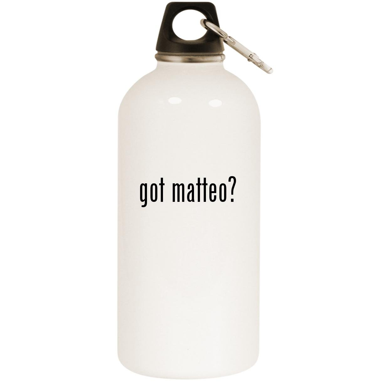 got matteo? - White 20oz Stainless Steel Water Bottle with Carabiner by Molandra Products (Image #1)