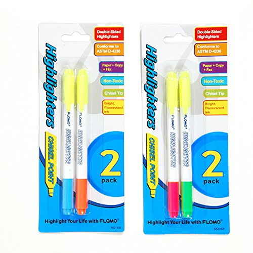 Flomo 2 Pack Double Edge Chisel Tip Highlighters(pack Of 48) (Chisel Lettering)