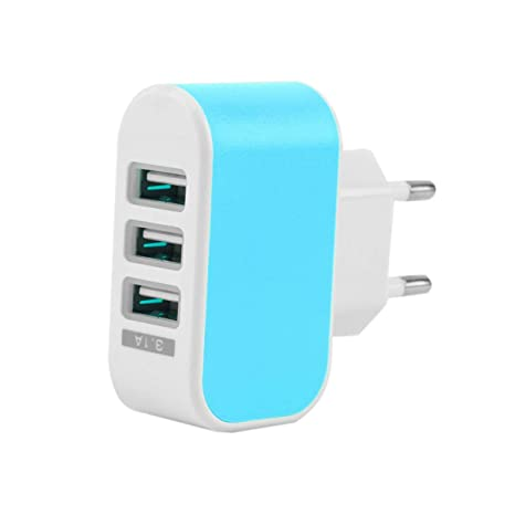 Tellaboull Triple USB 3 Puertos Muro Viaje en casa Adaptador ...