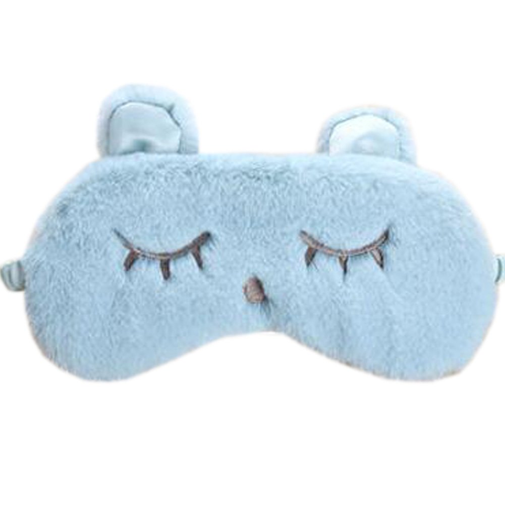Home Soft Eye Mask Sleep Mask Travel Eye Cover, Cyan-blue