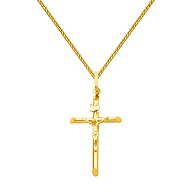 Amazon 14k yellow gold crucifix cross pendant with 1mm braided amazon 14k yellow gold crucifix cross pendant with 1mm braided square wheat chain necklace 16 jewelry aloadofball