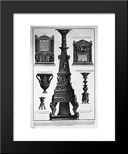 Three candlesticks, a vase and two stones 20x24 Framed Art Print by Piranesi.