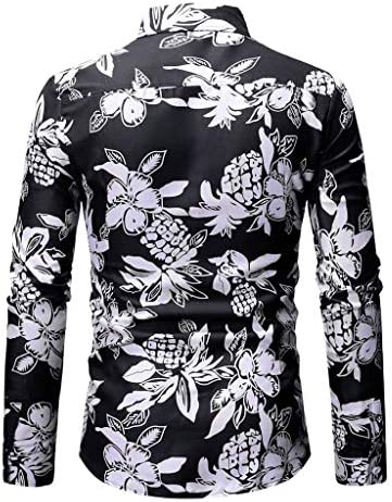 Balakie Painting Printed Personality Blouse Tops Mens Spring Button Down Shirt