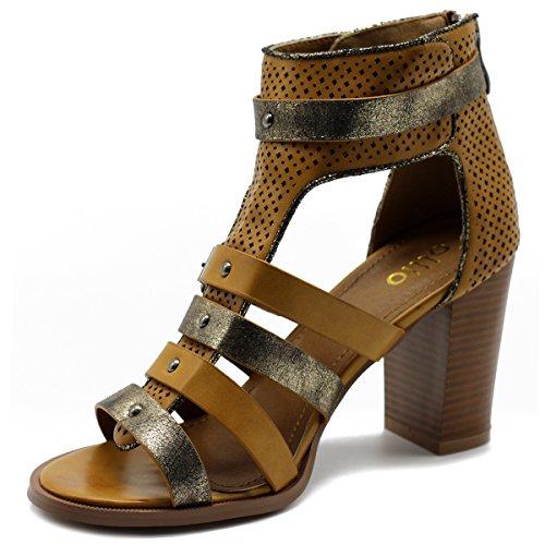 Sandal Bootie Stud Shoe Womens Gladiator Ollio Camel Heel Metallic High Ankle 64Z7wqwx