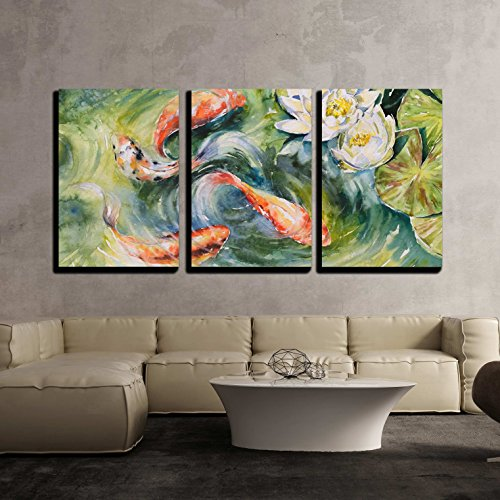Colorful Fishes Swimming in Pond Picture Created with Watercolors x3 Panels