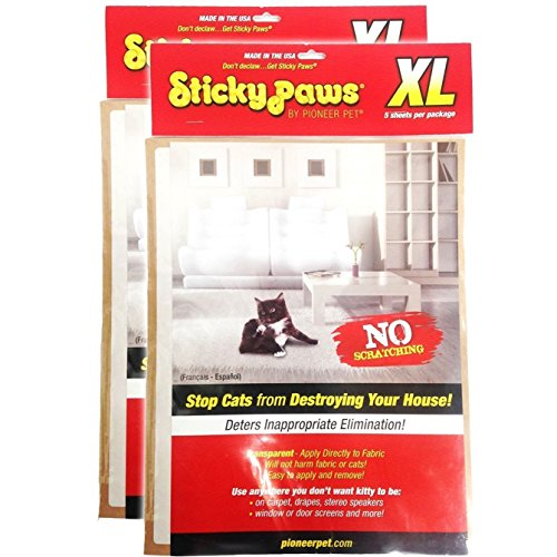 Pioneer Pet - Sticky Paws 10 XL Sheets (2 Packs of 5 Sheets) (Sticky Sheets)