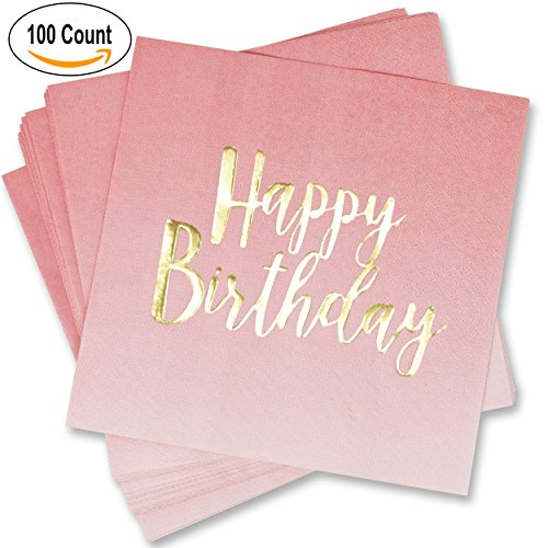 100 Count Happy Birthday Napkins 3 Ply Pink Ombre Luncheon Napkin with Metallic Gold Foil for Dinner Celebration Party Favor Supplies Decorations by Gift Boutique - Foil Dinner
