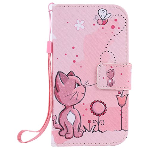 Galaxy S3 Case, Ultra Slim Kickstand Stand Wallet Purse Credit Card ID Holders Cover with Wrist Strap Magnetic Snap Closure PU Leather Cover for Samsung Galaxy S3 I9300 - Pink cat
