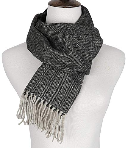 Runtlly Men's Winter Scarf Soft Classic Cashmere Feel Scarves Unisex 9-2 Dark Gray