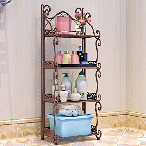 Washbasin Stand - SPP PANDA Mountable Bathroom Shelf Iron Art Bathroom Washbasin Stand Toilet Kitchen Storage Finishing Rack 4 Layer 33x20x88cm Brown