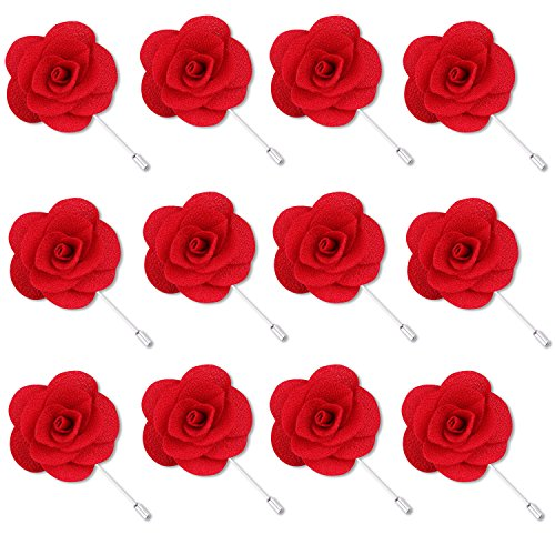 - Rhungift Flower Pins, Handmade Camellia Flower Boutonniere for Men Women Suit (Pack of 12) (Red)