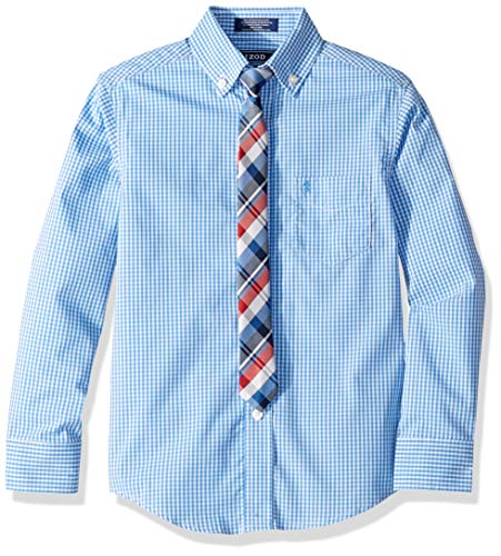 IZOD Boys' Big Long Sleeve Dress Shirt with Tie, Dragonfly, 14