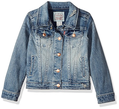 Denim Girls Dark (Levi's Girls' Denim Jacket,Weathered Indigo,L)