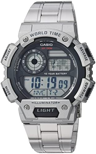 Casio Men s Classic Quartz Watch with Stainless-Steel Strap, Silver, 25.75 Model AE-1400WHD-1AVCF